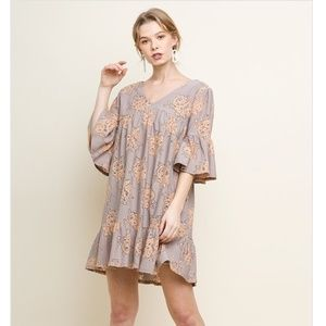 Umgee Floral Lace Bell Sleeve Dress
